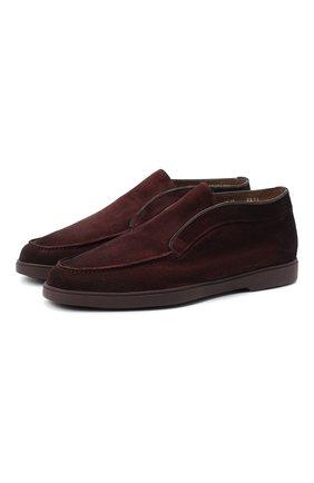 Мужские замшевые ботинки SANTONI бордового цвета, арт. MGYA16715BURAPMSB51   Фото 1