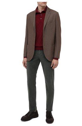 Мужское поло из кашемира и шерсти LUCIANO BARBERA бордового цвета, арт. 109M74/53534   Фото 2
