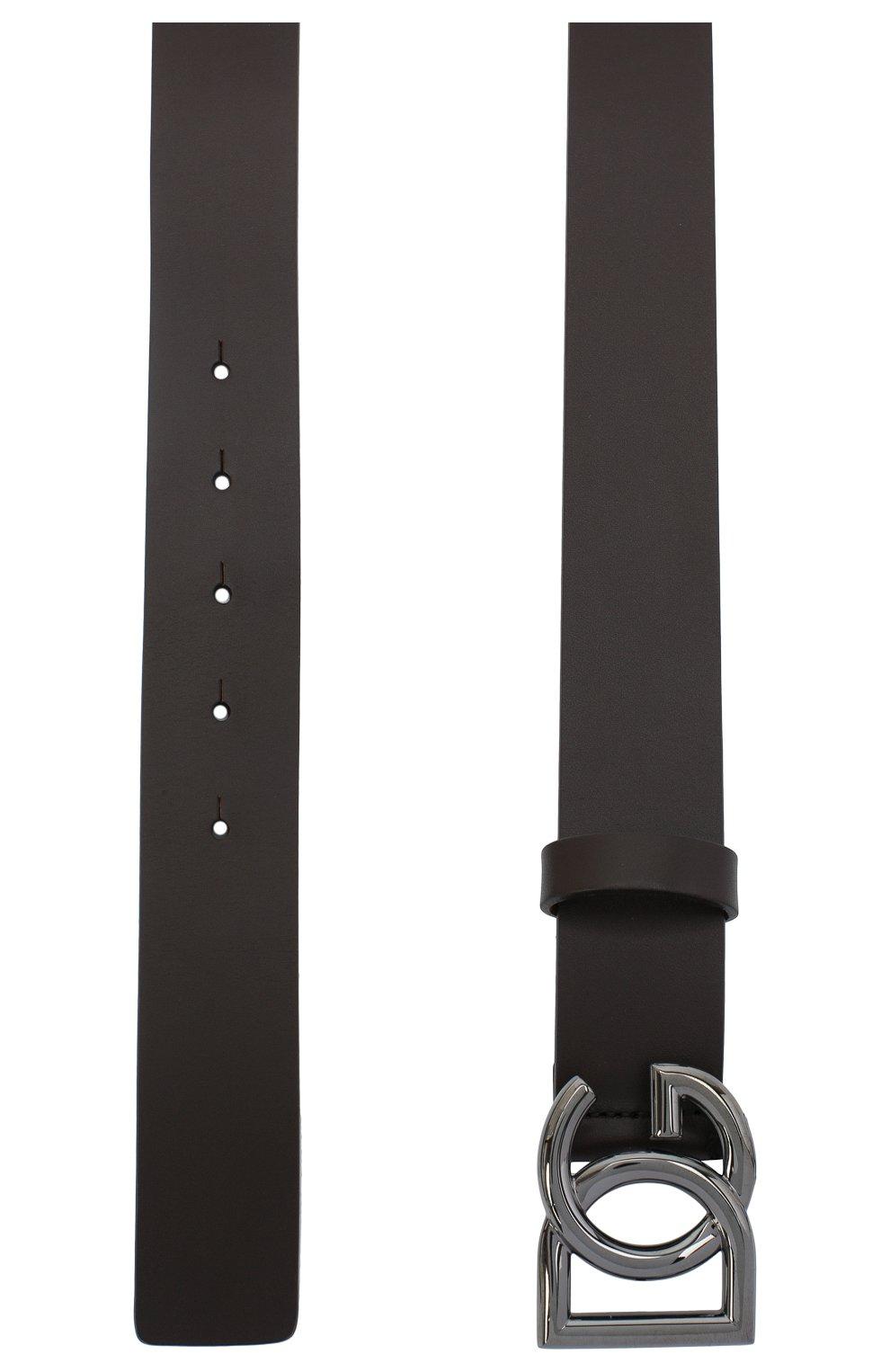 Мужской кожаный ремень DOLCE & GABBANA темно-коричневого цвета, арт. BC4400/AV479 | Фото 2