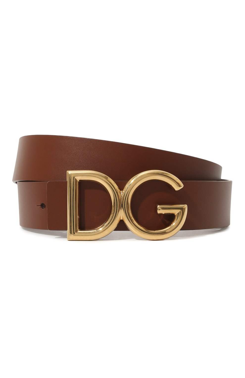 Мужской кожаный ремень DOLCE & GABBANA коричневого цвета, арт. BC4248/AC493   Фото 1