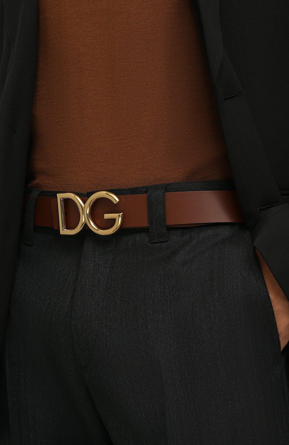 Мужской кожаный ремень DOLCE & GABBANA коричневого цвета, арт. BC4248/AC493   Фото 2