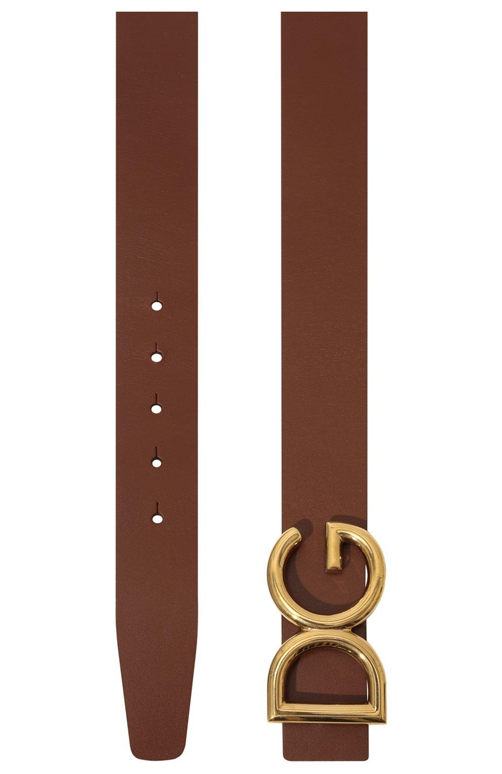 Мужской кожаный ремень DOLCE & GABBANA коричневого цвета, арт. BC4248/AC493   Фото 3