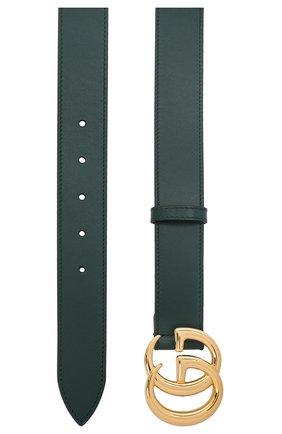 Мужской кожаный ремень GUCCI зеленого цвета, арт. 414516/0YA0G | Фото 2