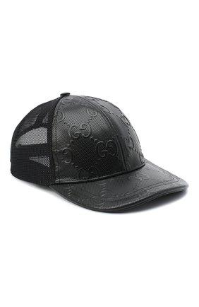 Мужской комбинированная бейсболка GUCCI черного цвета, арт. 627156/4HL03 | Фото 1