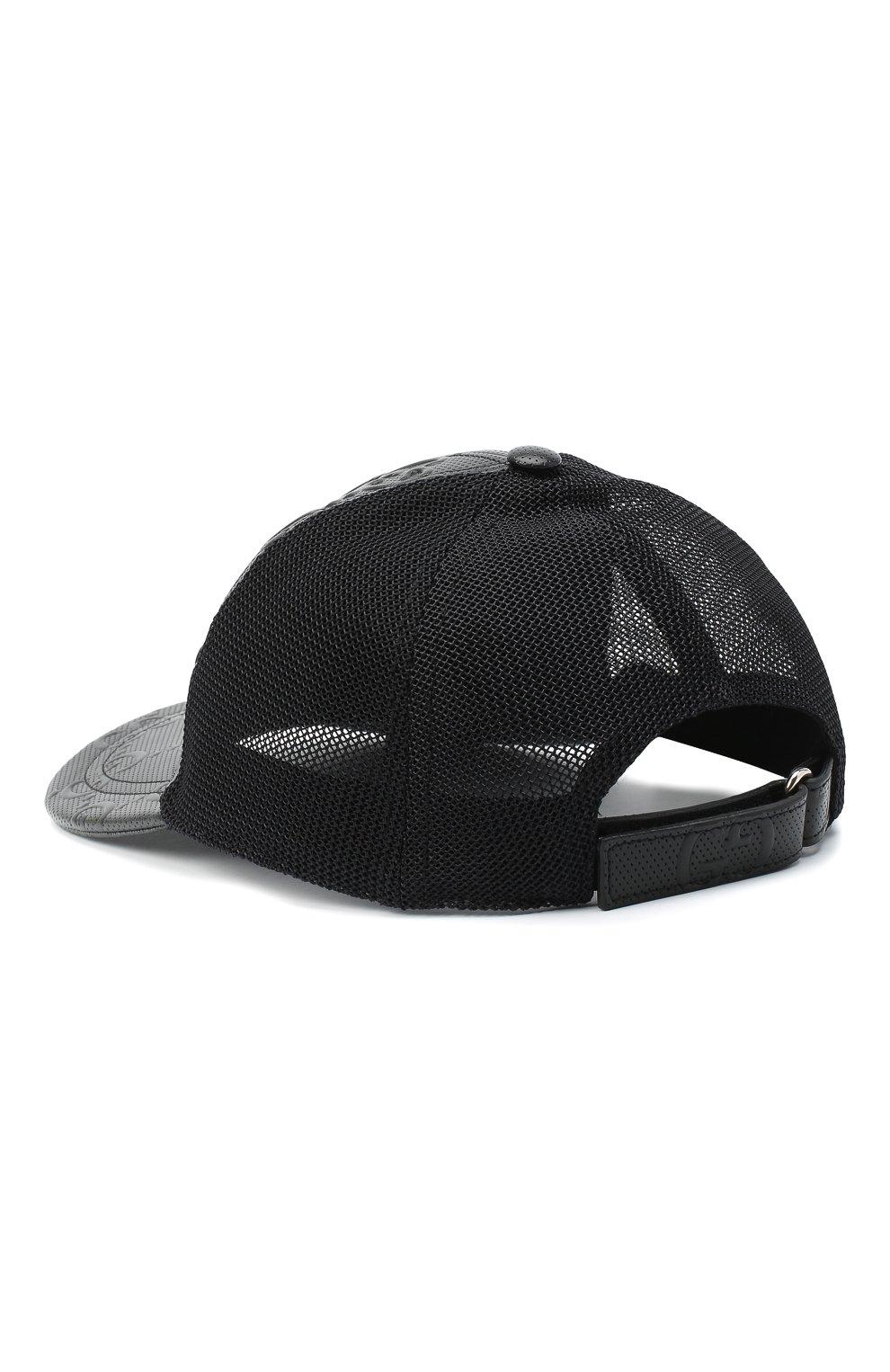 Мужской комбинированная бейсболка GUCCI черного цвета, арт. 627156/4HL03 | Фото 2