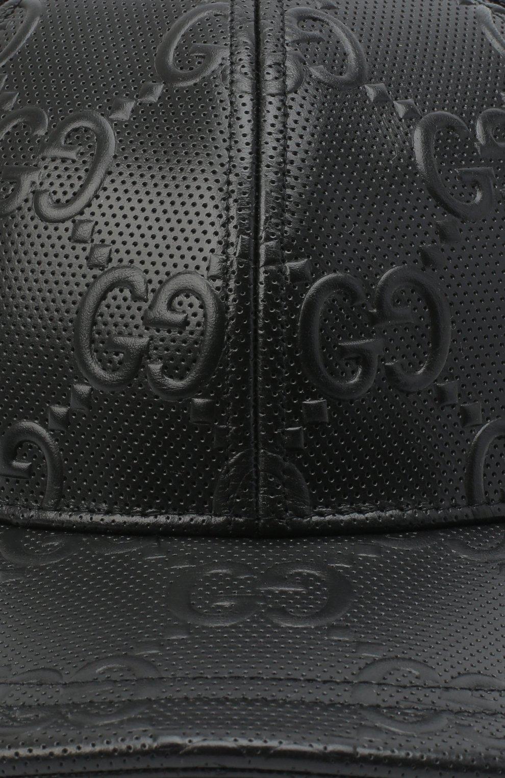 Мужской комбинированная бейсболка GUCCI черного цвета, арт. 627156/4HL03 | Фото 3