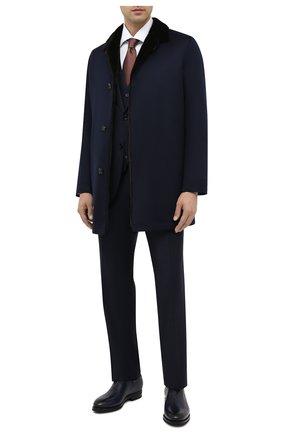 Мужской шерстяной костюм-тройка KITON темно-синего цвета, арт. UAGL862K02T01   Фото 1