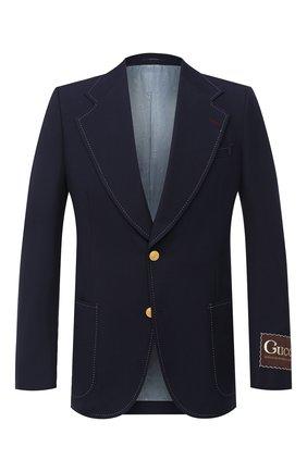Мужской хлопковый пиджак GUCCI темно-синего цвета, арт. 625827/ZAEA2 | Фото 1