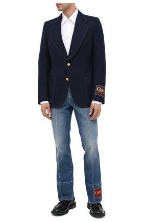 Мужской хлопковый пиджак GUCCI темно-синего цвета, арт. 625827/ZAEA2 | Фото 2