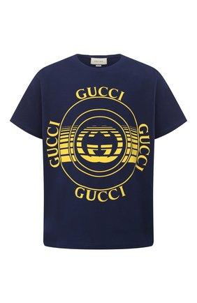 Мужская хлопковая футболка GUCCI синего цвета, арт. 616036/XJCSQ | Фото 1