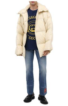 Мужская хлопковая футболка GUCCI синего цвета, арт. 616036/XJCSQ | Фото 2