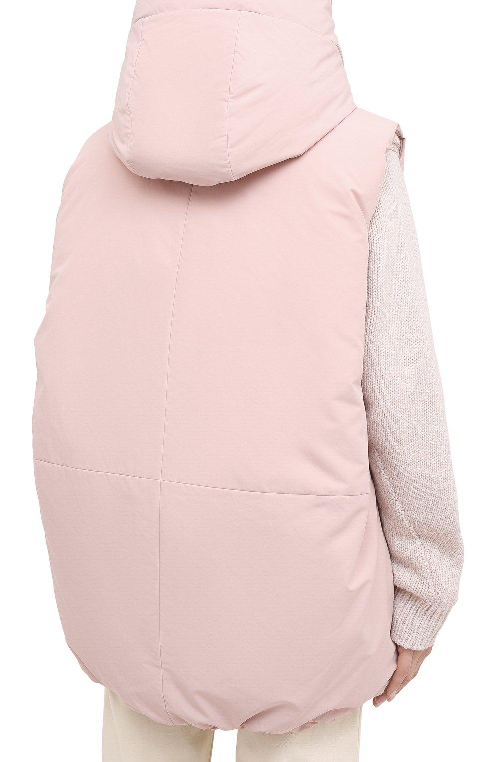 Женский пуховый жилет JIL SANDER розового цвета, арт. JPPR441194-WR440900 | Фото 4 (Материал внешний: Синтетический материал; Кросс-КТ: Пуховик; Материал подклада: Синтетический материал)