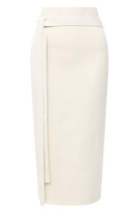 Женская юбка из шерсти и вискозы JIL SANDER белого цвета, арт. JSPR754072-WRY39038 | Фото 1