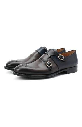 Мужские кожаные монки MAGNANNI серого цвета, арт. 22338/BR00KLYN | Фото 1