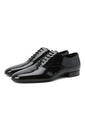 Мужские кожаные оксфорды SAINT LAURENT черного цвета, арт. 634332/1YZ00 | Фото 1