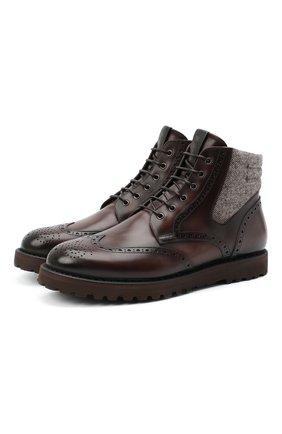 Мужские комбинированные ботинки W.GIBBS темно-коричневого цвета, арт. 0929070/1426 | Фото 1