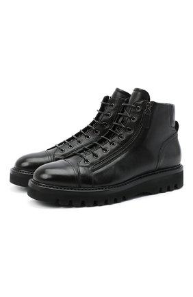 Мужские кожаные ботинки W.GIBBS черного цвета, арт. 0672001/1297 | Фото 1