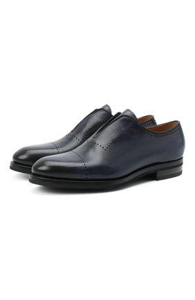 Мужские кожаные оксфорды KITON темно-синего цвета, арт. USSMARIN00100 | Фото 1 (Материал внутренний: Натуральная кожа; Мужское Кросс-КТ: Броги-обувь; Стили: Классический)