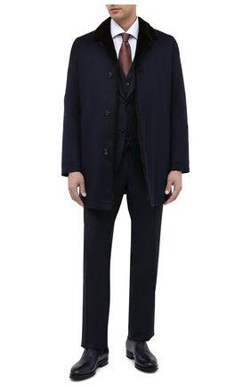Мужские кожаные оксфорды KITON темно-синего цвета, арт. USSMARIN00100 | Фото 2 (Материал внутренний: Натуральная кожа; Мужское Кросс-КТ: Броги-обувь; Стили: Классический)