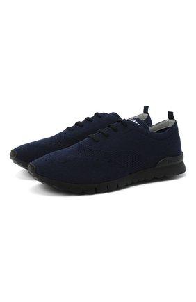Мужские текстильные кроссовки KITON темно-синего цвета, арт. USSCLASN00810 | Фото 1 (Материал внутренний: Натуральная кожа; Подошва: Массивная; Материал внешний: Текстиль)