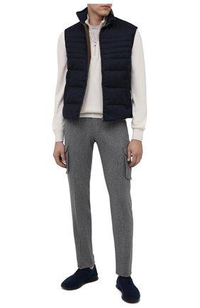 Мужские текстильные кроссовки KITON темно-синего цвета, арт. USSCLASN00810 | Фото 2 (Материал внутренний: Натуральная кожа; Подошва: Массивная; Материал внешний: Текстиль)