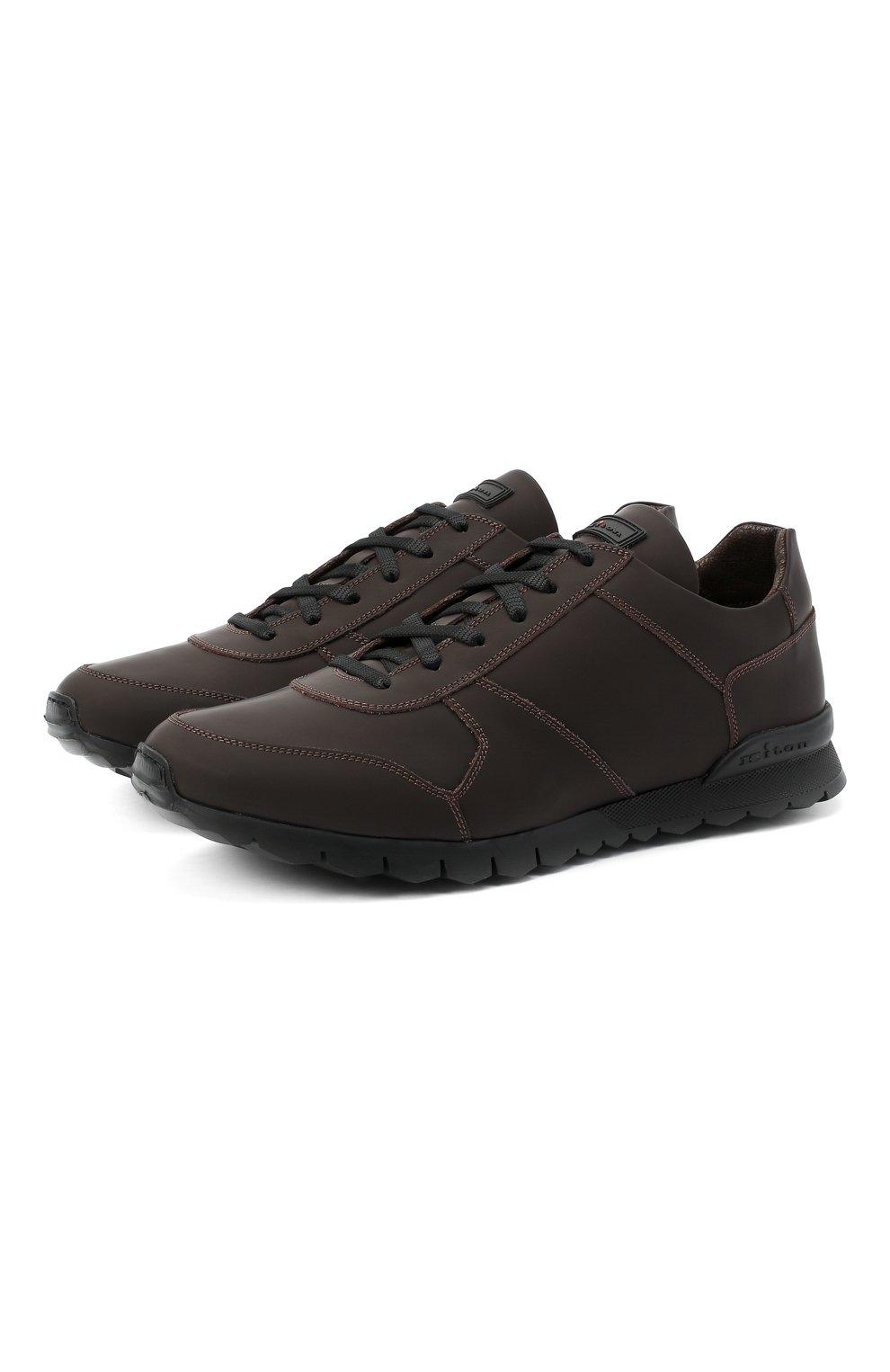 Мужские кожаные кроссовки KITON коричневого цвета, арт. USSVLAZN00674   Фото 1