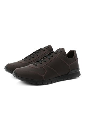 Мужские кожаные кроссовки KITON коричневого цвета, арт. USSVLAZN00674 | Фото 1 (Подошва: Массивная; Материал внутренний: Натуральная кожа; Стили: Классический)