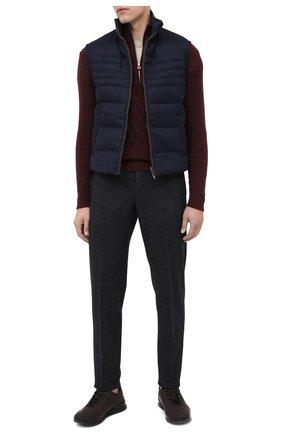 Мужские кожаные кроссовки KITON коричневого цвета, арт. USSVLAZN00674 | Фото 2 (Подошва: Массивная; Материал внутренний: Натуральная кожа; Стили: Классический)