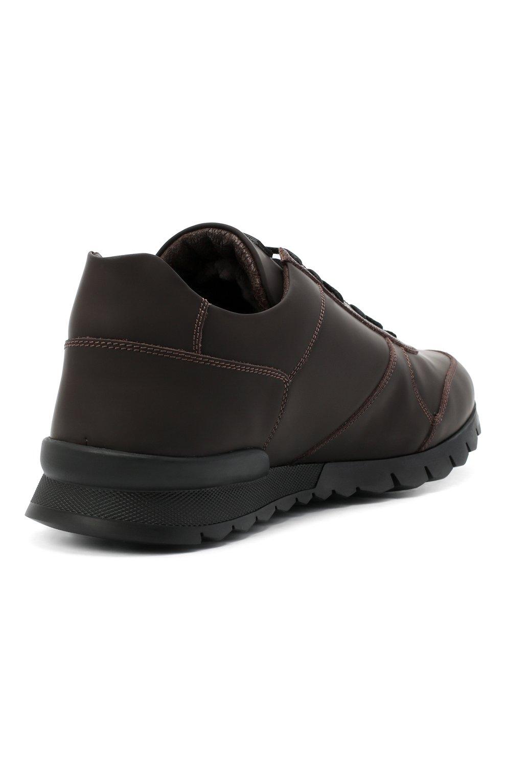 Мужские кожаные кроссовки KITON коричневого цвета, арт. USSVLAZN00674   Фото 4