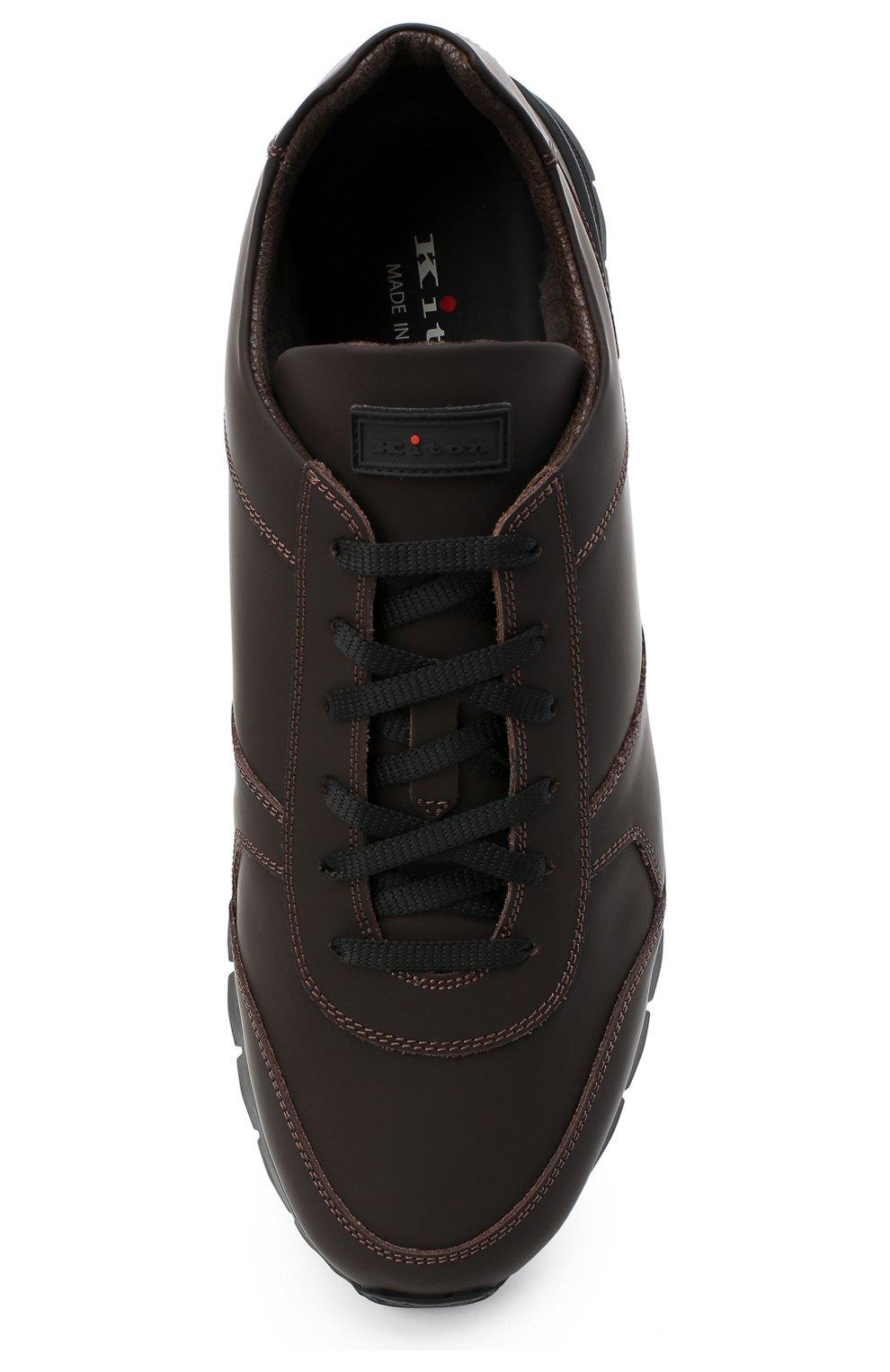 Мужские кожаные кроссовки KITON коричневого цвета, арт. USSVLAZN00674   Фото 5