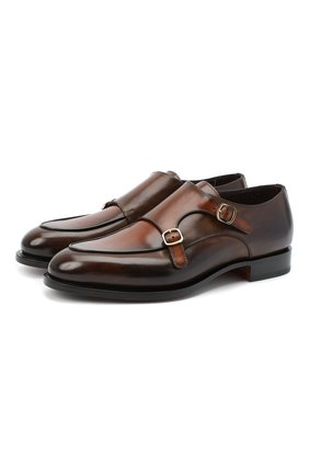 Мужские кожаные монки SANTONI коричневого цвета, арт. MCC016036MC3HNGCS53 | Фото 1
