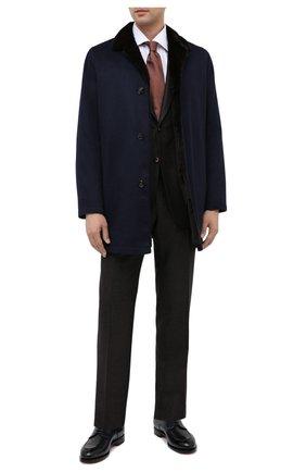 Мужской кожаные дерби SANTONI темно-синего цвета, арт. MCC016821MC3HVVDU59 | Фото 2