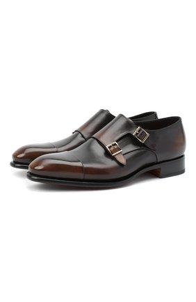 Мужские кожаные монки SANTONI коричневого цвета, арт. MCCR11652MC1HNGWT50 | Фото 1