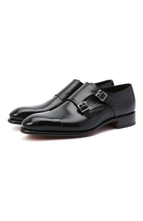 Мужские кожаные монки SANTONI черного цвета, арт. MCCR11652MC1HVVDN01 | Фото 1