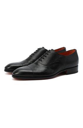 Мужские кожаные оксфорды SANTONI черного цвета, арт. MCCR12474JC6IRICN01 | Фото 1