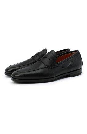Мужские кожаные пенни-лоферы SANTONI черного цвета, арт. MCNC15609SI1EGTKN01 | Фото 1