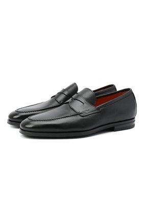 Мужские кожаные пенни-лоферы SANTONI черного цвета, арт. MCNC15609SI1ERNAN51 | Фото 1