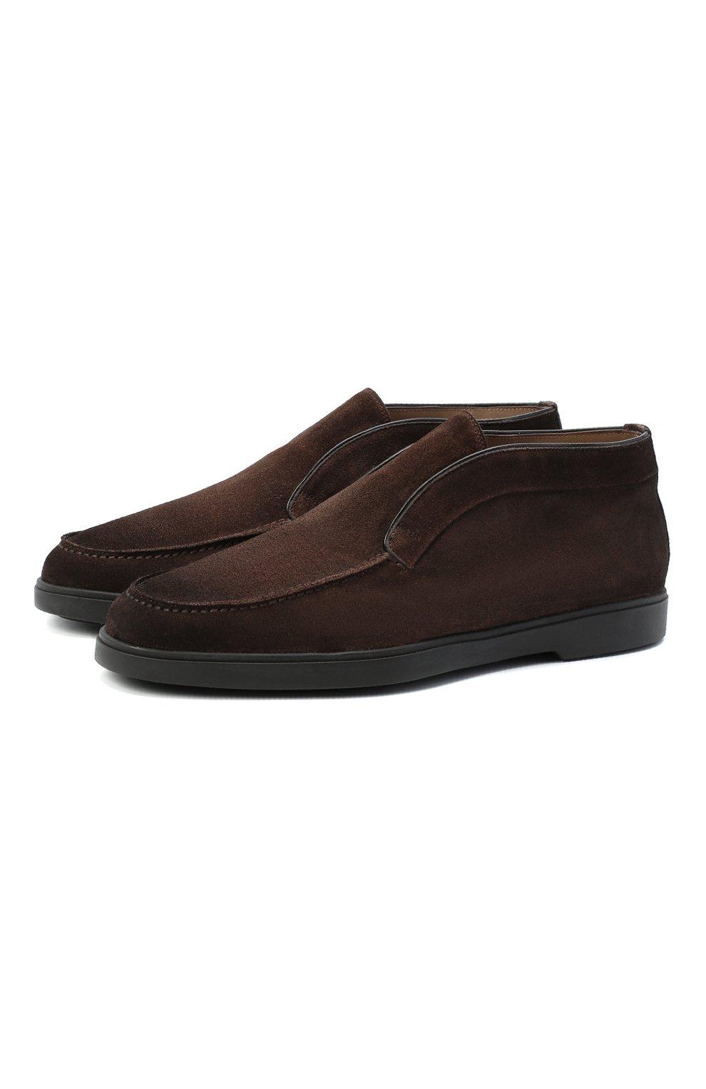 Мужские замшевые ботинки SANTONI коричневого цвета, арт. MGYA16715SM0APMST55   Фото 1