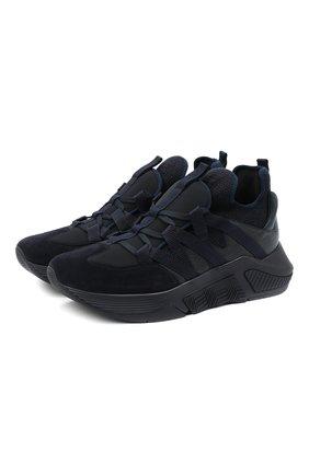 Мужские комбинированные кроссовки GIORGIO ARMANI темно-синего цвета, арт. X2X132/XM645 | Фото 1