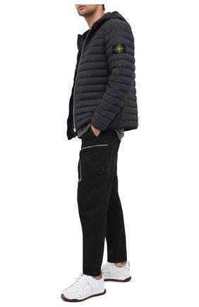Мужской брюки-карго из хлопка и шерсти STONE ISLAND черного цвета, арт. 731930508 | Фото 2