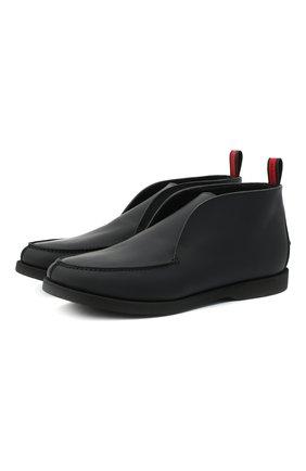 Мужские кожаные ботинки KITON черного цвета, арт. USSFLYN00674 | Фото 1