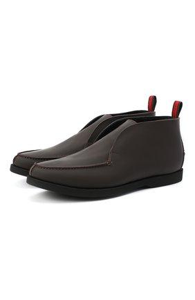 Мужские кожаные ботинки KITON коричневого цвета, арт. USSFLYN00674 | Фото 1 (Материал внутренний: Натуральная кожа; Подошва: Плоская; Мужское Кросс-КТ: Ботинки-обувь)
