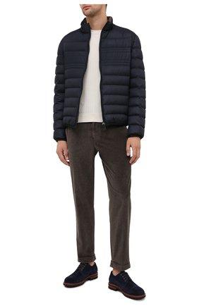 Мужской брюки из хлопка и кашемира KITON темно-коричневого цвета, арт. UFPLACJ02T46   Фото 2