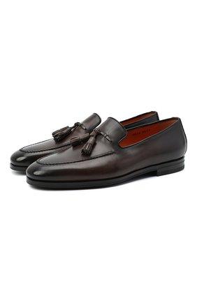 Мужские кожаные лоферы SANTONI темно-коричневого цвета, арт. MCNC16465SI1ESCST52 | Фото 1