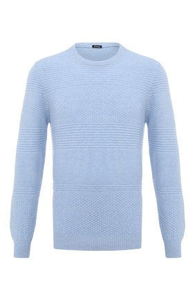 Мужской кашемировый свитер KITON голубого цвета, арт. UK1127   Фото 1