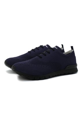 Мужские текстильные кроссовки KITON темно-синего цвета, арт. USSCLASN00811   Фото 1