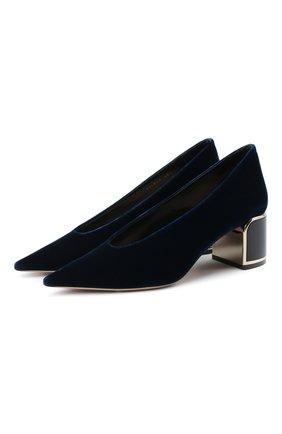 Женские текстильные туфли GIORGIO ARMANI темно-синего цвета, арт. X1E863/XM576 | Фото 1