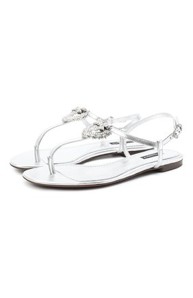 Женские кожаные сандалии DOLCE & GABBANA серебряного цвета, арт. CQ0353/A1016 | Фото 1