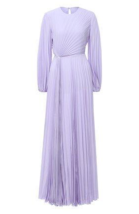 Женское шелковое платье VALENTINO сиреневого цвета, арт. UB3VDB251MH   Фото 1 (Материал внешний: Шелк; Рукава: Длинные; Материал подклада: Вискоза; Женское Кросс-КТ: Платье-одежда)