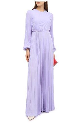 Женское шелковое платье VALENTINO сиреневого цвета, арт. UB3VDB251MH   Фото 2 (Материал внешний: Шелк; Рукава: Длинные; Материал подклада: Вискоза; Женское Кросс-КТ: Платье-одежда)